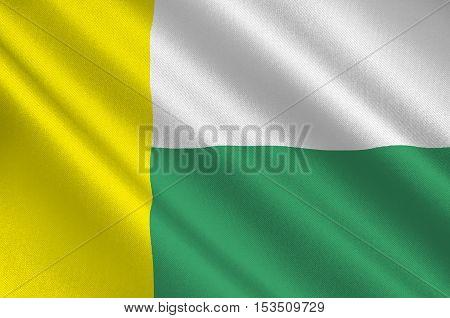 Flag of Zielona Gora city in Lubusz Voivodeship in western Poland. 3d illustration