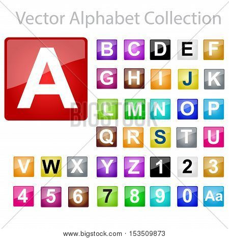 Vector Alphabet letters Collection, colored square buttons