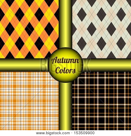 Set of four seamless patterns in autumn colors palette. Fall textile plaid design for Thanksgiving table decoration. Tablecloth, runner, placemat, coaster & napkin prints.