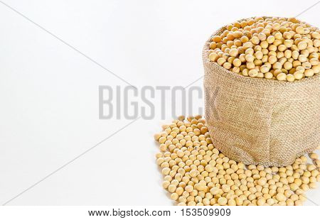Soy bean in small hemp bag isolated for food healthy