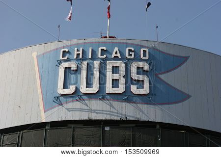 Chicago - September 2008: Chicago Cubs Marquee at Wrigley Field I