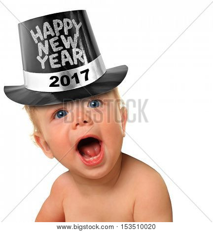 Shouting Happy New Year baby boy. 2017
