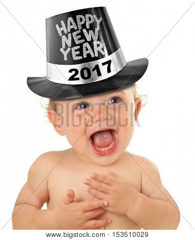 Happy New Year baby boy, studio isolated on white. 2017