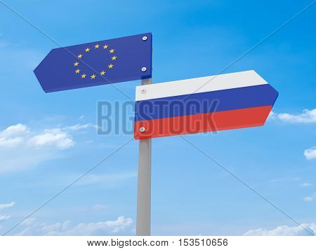 Disagreement: Russia And EU Road Sign Pointing In Opposite Directions 3d illustration