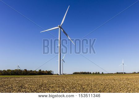 Wind Farm in Central Indiana. Wind and Solar Green Energy areas are becoming very popular in farming communities VIII