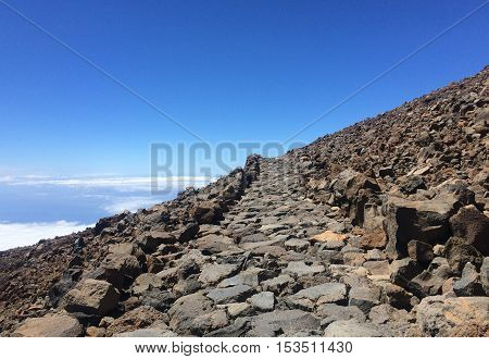 Rocks and clouds in volcano pik in Tenerife