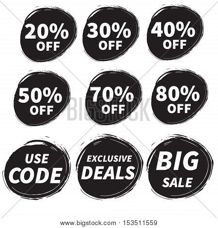 Vector grunge sales signs for discount, sales, deals and coupons. White text on black hand drawn textured grunge background circles