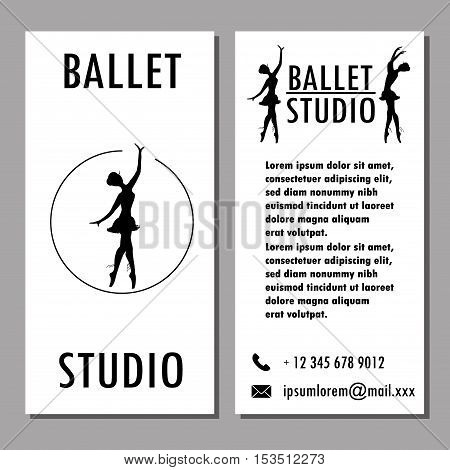 Design poster card or banner ballet school dance studio stock vector illustration