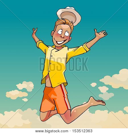 cartoon young man in a hat joyously jumping on the background of the sky