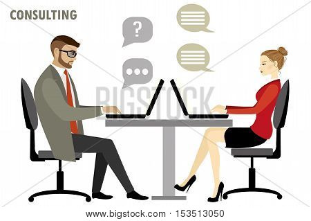 Flat character of business consulting concept isolated on white background stock vector illustration