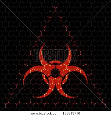 Abstract vector dark background with red biohazard sign.