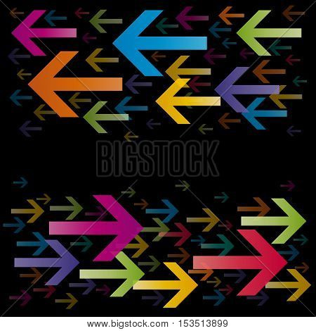 Bidirectional Abstract Arrows in moviment on black background