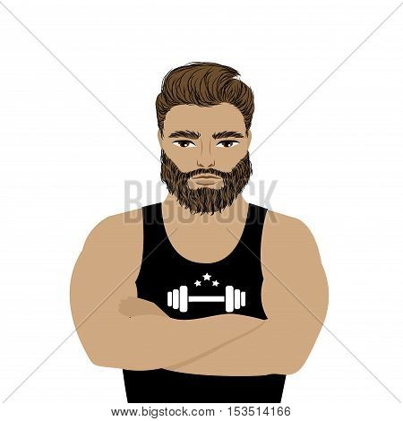 Strong man athlete illustration on white background. bearded hipster. Cartoon sportsman male vector.