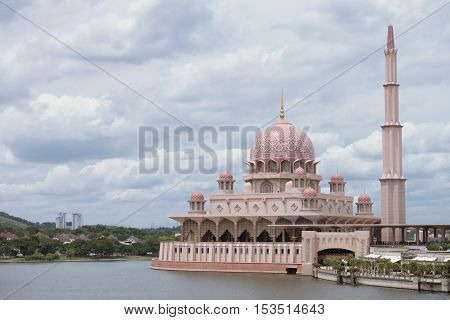 pink mosques putrajayas roof dome and river in kuala lumpur city tour day time outdoor / pink mosques