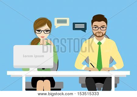 Flat character of business consulting concept stock vector illustration