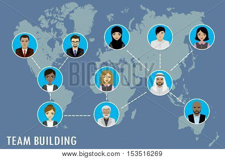 People avatar on world map team building concept vector stock illustration