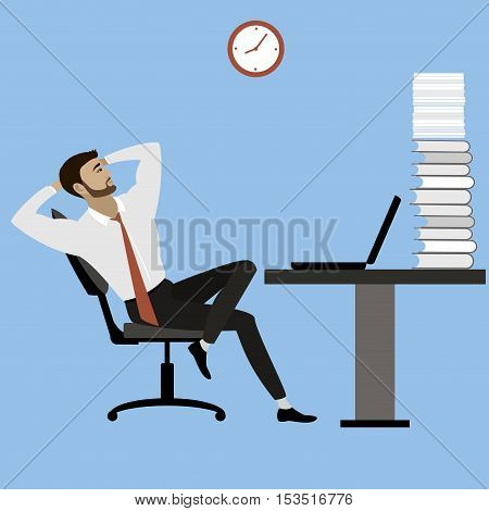 office manager or businessman relaxes after a lot of work stock vector illustration