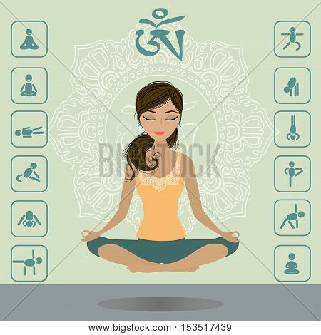 Cute girl hovers above the floor in the lotus position yoga infographics vector illustration