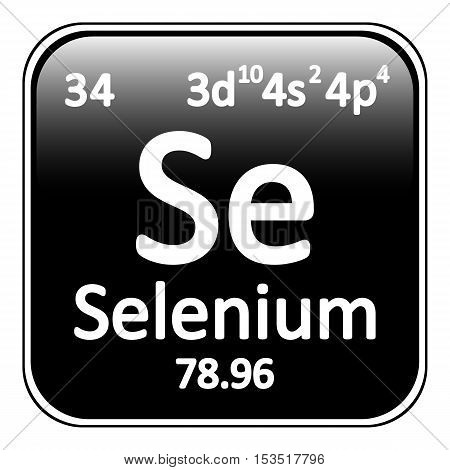 Periodic table element selenium icon on white background. Vector illustration.
