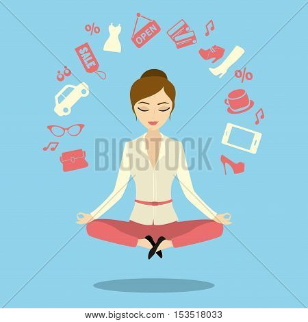Business woman or office worker in lotus invents ideasvector illustration
