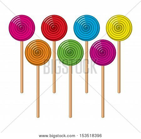 vector background collection of colorful lollipop candies in the form of balls