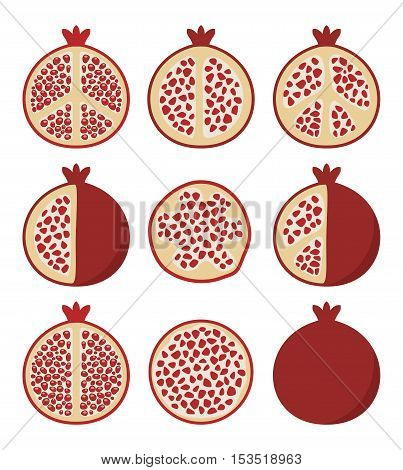 vector set of stylized pomegranate cuts vegetarian diet icons