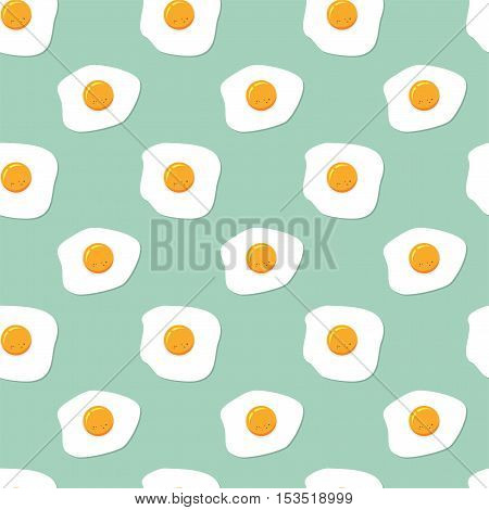 vector seamless breakfast pattern with fried eggs