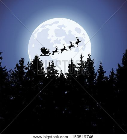 vector christmas holiday background with santa claus reindeers moon and trees