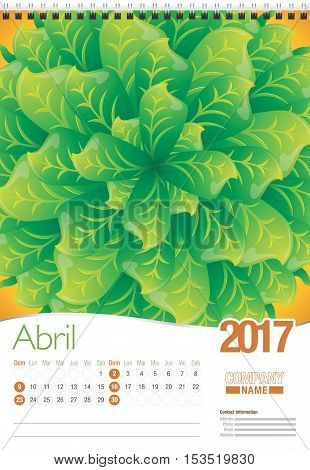 Abril -April in Spanish language- wall calendar 2017 template with abstract floral design, ready for printing. Size: 297mm x 420mm. Format vertical. Spanish version