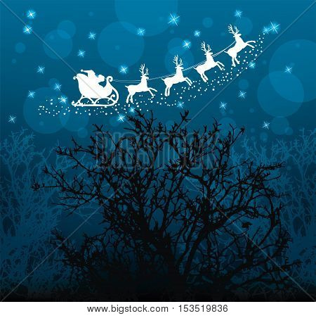 vector christmas holiday background with santa claus reindeers stars and trees