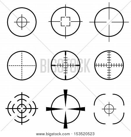 Set of black crosshair scope target icon