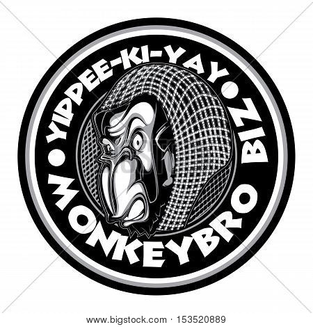 Circular Logo Black & White Monkey Biz Sticker Character