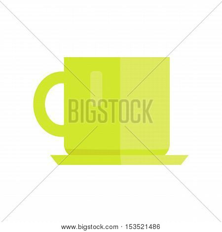 Cup vector illustration in flat style design. Green ceramic teacup isolated on white background. Basic kitchen dishes concept for icons, dinnerware print element, infographics.