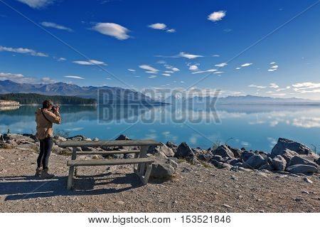 Lake Pukaki fed by the Tasman River which has its source in the Tasman and Hooker Glaciers close to Aoraki / Mount Cook in South Island of New Zealand