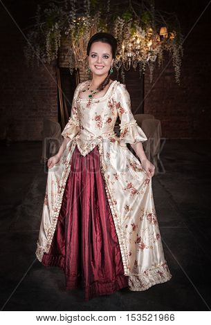 Beautiful Woman In Old Historic Medieval Dress