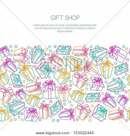 Vector Seamless Horizontal Border Background With Multicolor Outline Gift Boxes And Ribbons.