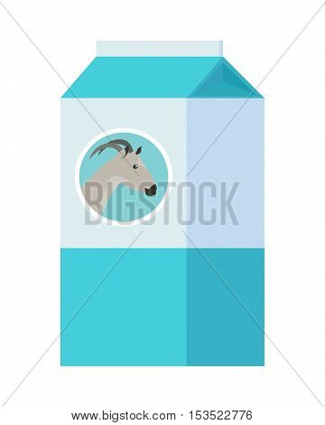 Goat milk in carton paper box isolated on white. Milk product with goat on package. Logo design for dairy milk goods. Healthy beverage. Agriculture farming concept. Vector illustration in flat style