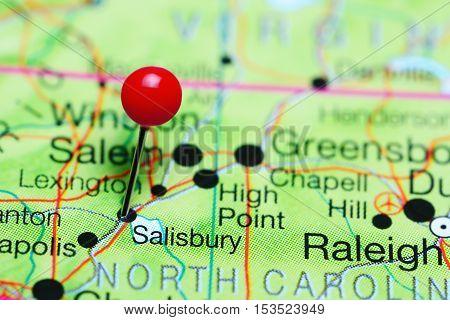 Salisbury pinned on a map of North Carolina, USA