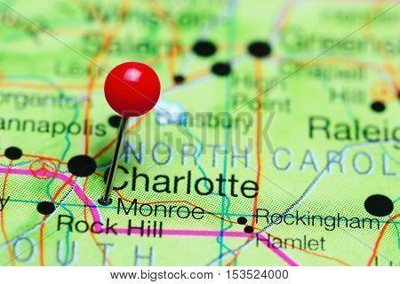 Monroe pinned on a map of North Carolina, USA