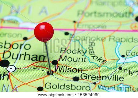 Wilson pinned on a map of North Carolina, USA