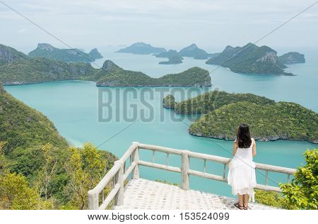 Woman Enjoying Stunning View At The Small Islands