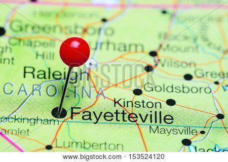 Fayetteville pinned on a map of North Carolina, USA