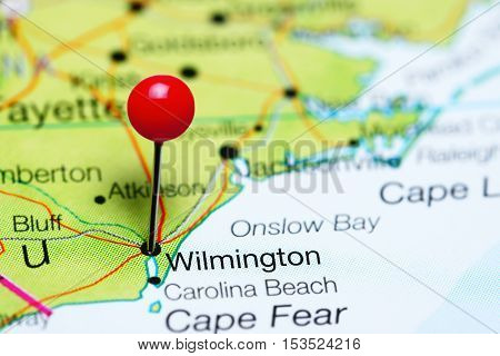 Wilmington pinned on a map of North Carolina, USA