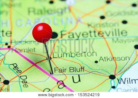 Fair Bluff pinned on a map of North Carolina, USA