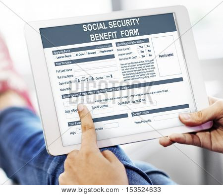 Social Security Benefit Form Application Concept