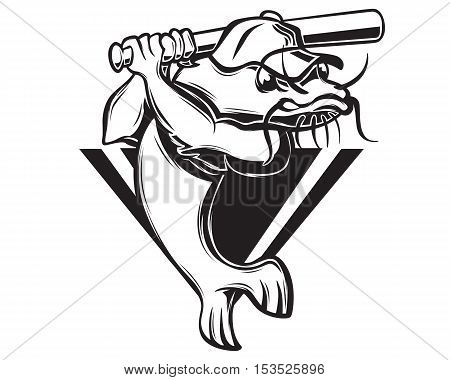 Sport Baseball Team Emblem Mud Catfish Logo Black and White