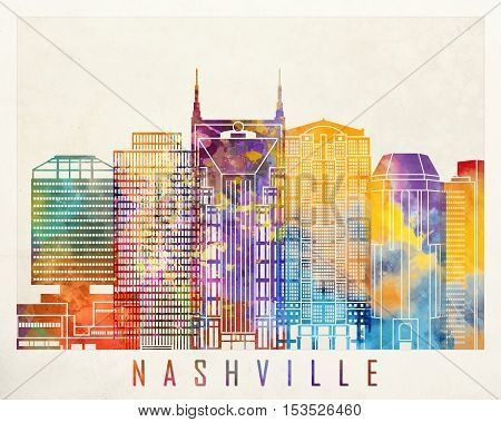Nashville landmarks in artistic abstract watercolor poster