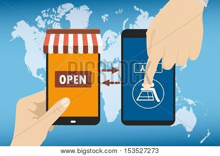 One hand holds a smartphone shop other hand presses the purchase button Global e-commerce on smart gadgets flat design