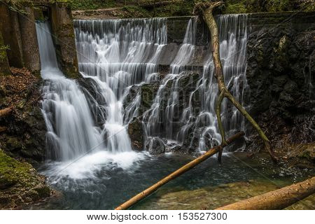 Waterfall at the Vintgar gorge in Slovenia