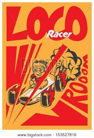 Retro Poster Cartoon Vintage Race Car